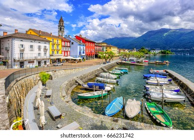 Ascona Old Town and port on Lago Maggiore lake in swiss Alps mountains, Switzerland