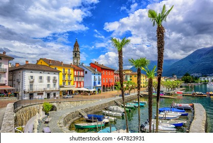 Ascona Old Town, Switzerland, is a popular tourist destination on Lago Maggiore in Alps Mountains