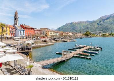 Ascona on the shore of Lake Maggiore, Ticino, Switzerland.