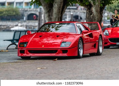 Ascona, Switzerland 16. September 2018. Front side view of a legendary Red Ferrari F40 supercar parked at Ascona Sportcarsday meeting.
