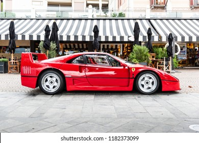 Ascona, Switzerland 16. September 2018. Side view of a legendary Red Ferrari F40 supercar parked at Ascona Sportcarsday meeting.