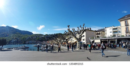 Ascona, Switzerland - April 24, 2016: Snapshots taken on the lakeshore of Lago Maggiore in Ascona