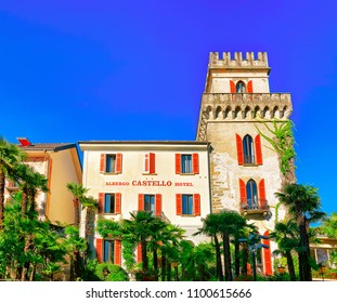 Ascona, Switzerland - August 23, 2016: Hotel house at the expensive resort at Ascona on Lake Maggiore in Ticino canton in Swiss.