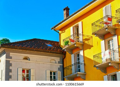 Ascona, Switzerland - August 23, 2016: Houses at the luxurious resort in Ascona on Lake Maggiore, Ticino canton in Switzerland.