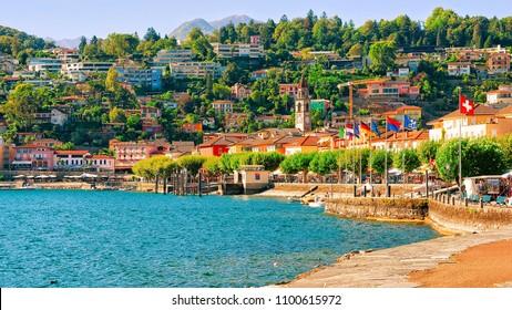 Ascona, Switzerland - August 23, 2016: Embankment of the luxurious resort in Ascona on Lake Maggiore in Ticino canton in Switzerland.