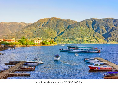 Ascona, Switzerland - August 23, 2016: Boats at the pier of the luxurious resort in Ascona on Lake Maggiore in Ticino canton in Switzerland.