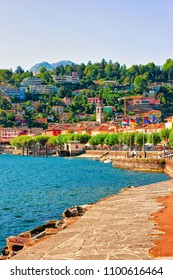 Ascona, Switzerland - August 23, 2016: Embankment of the luxurious resort in Ascona on Lake Maggiore in Ticino canton of Switzerland.