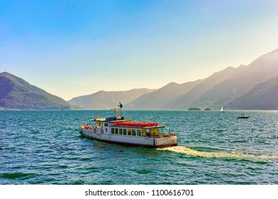 Ascona, Switzerland - August 23, 2016: Passenger ferry at the pier of the luxurious resort in Ascona on Lake Maggiore in Ticino canton in Switzerland.