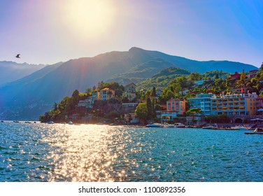 Ascona, Switzerland - August 23, 2016: Waterfront  of the expensive resort in Ascona on Lake Maggiore in Ticino canton in Switzerland.