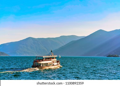 Ascona, Switzerland - August 23, 2016: Passenger ferry in the luxurious resort at Ascona on Lake Maggiore in Ticino canton in Switzerland.