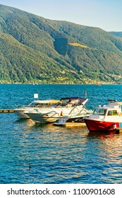 Ascona, Switzerland - August 23, 2016: Boats at the embankment of Ascona luxurious resort on Lake Maggiore in Ticino canton in Switzerland.