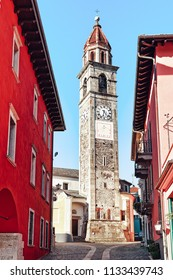 Ascona, Switzerland - August 23, 2016: St Peter and Paul church tower at the luxurious resort in Ascona on Lake Maggiore in Ticino canton, Switzerland.