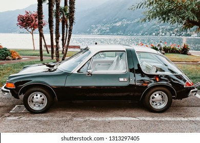 Ascona, Switzerland - August 23, 2016:  AMC Pacer Retro car at street of Ascona. American Motor Corporation luxury automobile. Vintage old model of auto. Classic style and antique design oldtimer