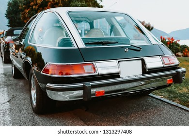 Ascona, Switzerland - August 23, 2016:  AMC Pacer Retro car in street of Ascona. American Motor Corporation luxury automobile. Vintage old model of auto. Classic style and antique design oldtimer