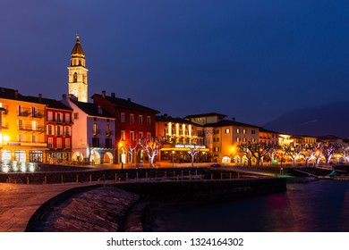 Ascona, Switzerland - february 23, 2019: Ascona Old Town and port on Lago Maggiore lake in swiss Alps mountains, Switzerland