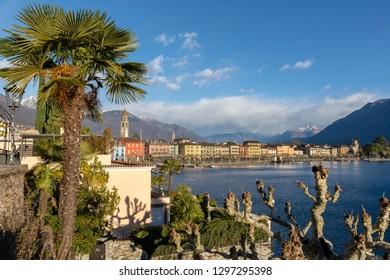 Ascona, Switzerland - January 2, 2019: The town of Ascona and Lake Maggiore