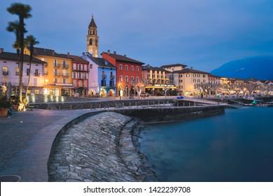 [Ascona, Switzerland -  March 01 2019] Ascona, at night, canton, TI, Ticino, South Switzerland, town, city, night, dark, Switzerland, Europe