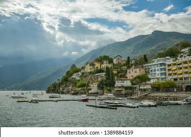 Ascona, Switzerland - September 2, 2018: Nice view on Ascona in Switzerland during summer day in 2018