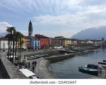 Ascona tessin promenade quai at Lago Maggiore in spring. Ascona Locarno, CH Switzerland. 27th March 2016