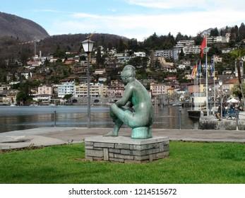 Ascona tessin promenade with sculpture at Lago Maggiore in spring. Ascona Locarno, CH Switzerland. 27th March 2016