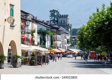 ASCONA, TICINO, SWITZERLAND - JULY 27: Ascona promenade at the Lake Maggiore on July 27, 2013. Ascona is a municipality in the district of Locarno in the canton of Ticino in Switzerland.