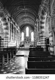 Ascot, Berkshire, England -September 24, 2018: Inside Ascot Priory Chapel.