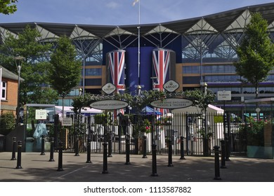 Ascot, Berkshire / UK - June 15 2018: Entrance gates to Ascot racecourse - the venue of the Royal Ascot meeting.
