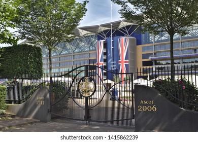 Ascot, Berkshire / UK - June 15 2018: Entrance gates to Ascot racecourse - the venue of the Royal Ascot meeting.