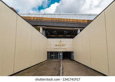 Ascot, England - March 17, 2019: Street view of the entrance of the iconic British Ascot racecourse heath, known for its horse racing.