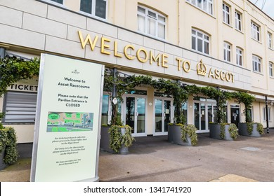 Ascot, England - March 17, 2019: Street view of the entrance of the iconic British Ascot racecourse building, known for its horse racing.