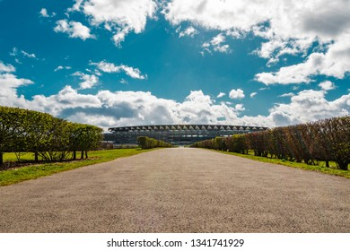 Ascot, England - March 17, 2019: View of the iconic British Ascot racecourse heath, known for its horse racing.