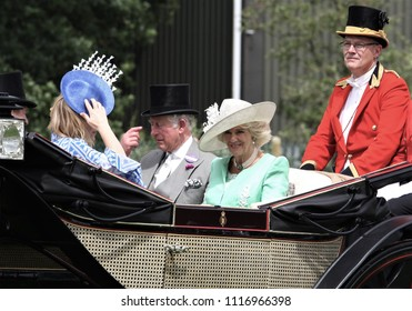 ASCOT - JUN 20, 2018: Prince Charles, Camilla Duchess of Cornwall seen arriving in royal carriages for Royal Ascot