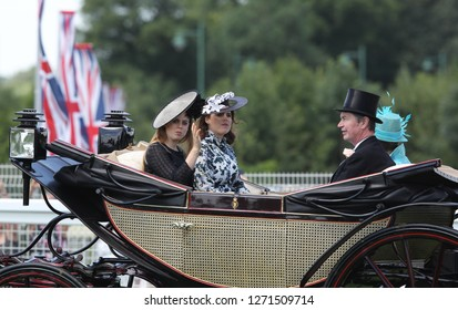 Ascot, Jun 21, 2018: Princess Beatrice and Princess Eugenie seen arriving in royal carriages for Royal Ascot