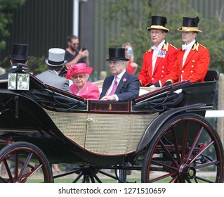 Ascot - JUN 21, 2018: Queen Elizabeth II with Prince Andrew seen arriving in royal carriages for Royal Ascot
