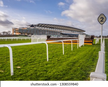 Ascot Racecourse, Ascot, Berkshire, England - February 2019 View of course and Grandstand