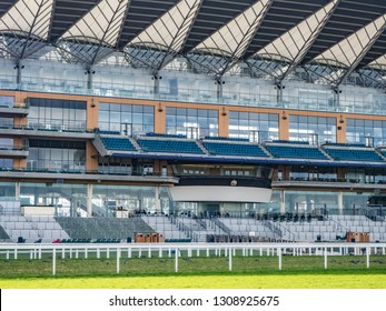 Ascot Racecourse, Ascot, Berkshire, England - February 2019 View of the stand including the Royal Box at Ascot Racecourse