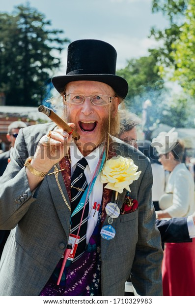 Ascot, UK - 16 June 2015: Horse racing pundit and journalist John Michael McCririck  arrives for a day 1 of Royal Ascot at Ascot Racecource, wearing hat according event dress code.