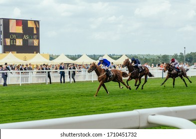 Ascot, UK - June 16 2015: Horse race at Ascot Racecourse on a day 1 of Royal Ascot
