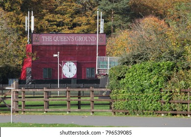 "Ascot, UK - November 5th 2017: Polo scoreboard at ""The Queen's Ground"" at Guards Polo Club in Surrey, England"