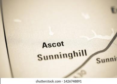 Ascot. United Kingdom on a map