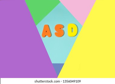 ASD. Autism spectrum disorder from color letters on color background , World Autism Awareness Day, April Autism awareness month