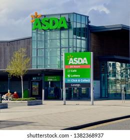 Asda supermarket, a British chain of supermarkets. Exterior view of the Edinburgh Newhaven branch as part of the regeneration of Leith. Edinburgh scotland. Uk. April 2019