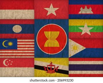 ASEAN Economic Community, AEC ,on the paper texture ,retro vintage style