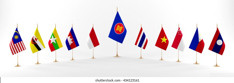 ASEAN Economic Community.The national flags for the AEC.3D rendering