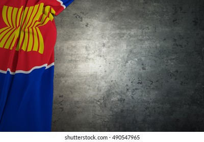 ASEAN Economic Community.Flag AEC of fabric texture with concrete texture dark background .3D Rendering