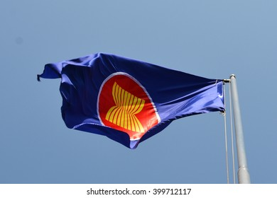 Asean Large Fabric Flags, Blue Sky, Windy Day