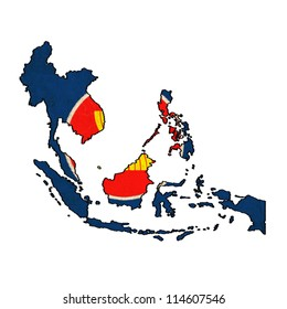 ASEAN map on ASEAN Economic Community flag drawing ,grunge and retro flag series