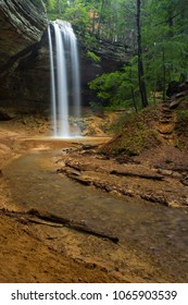 Ash Cave Waterfall With Stream