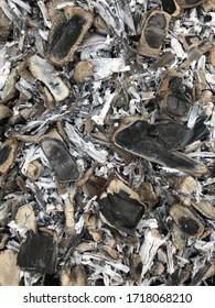 Ash, charcoal burned boards, gray black background
