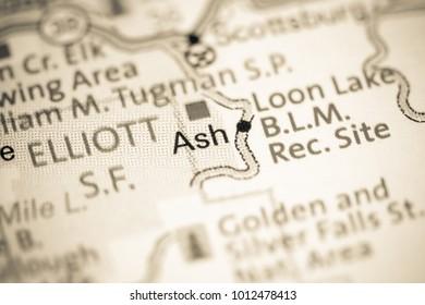 Ash. Oregon. USA on a map.